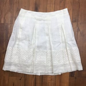 Ann Taylor Loft Pleated Lace Accent A-Line Skirt